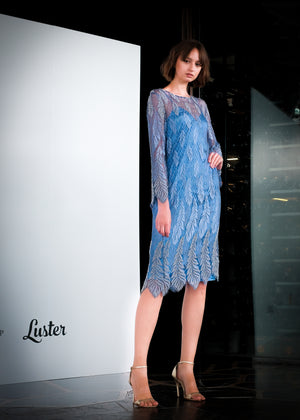 Dia Lace Embroidered Dress (Blue)