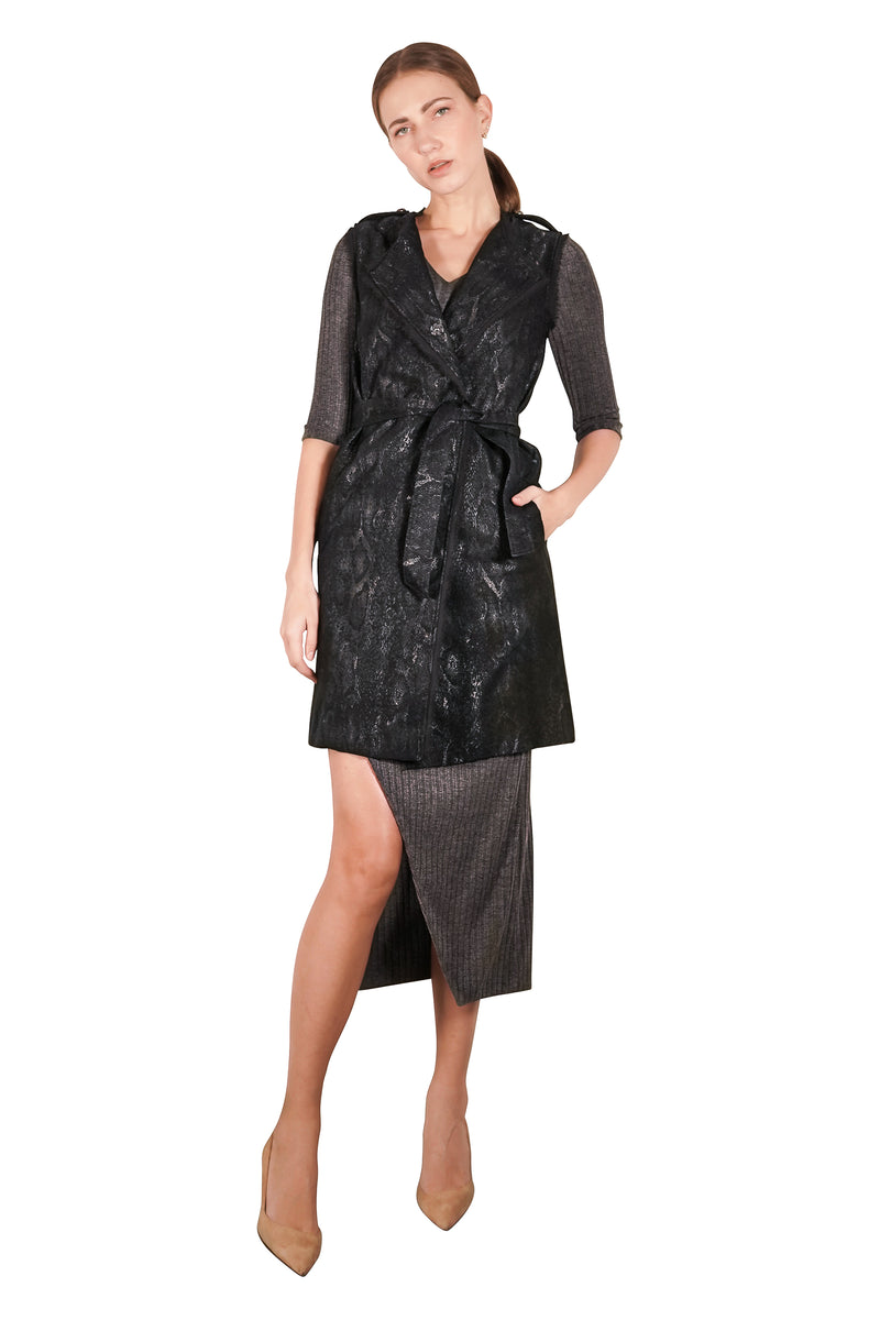 Gillian Jacquard Sleeveless Trench