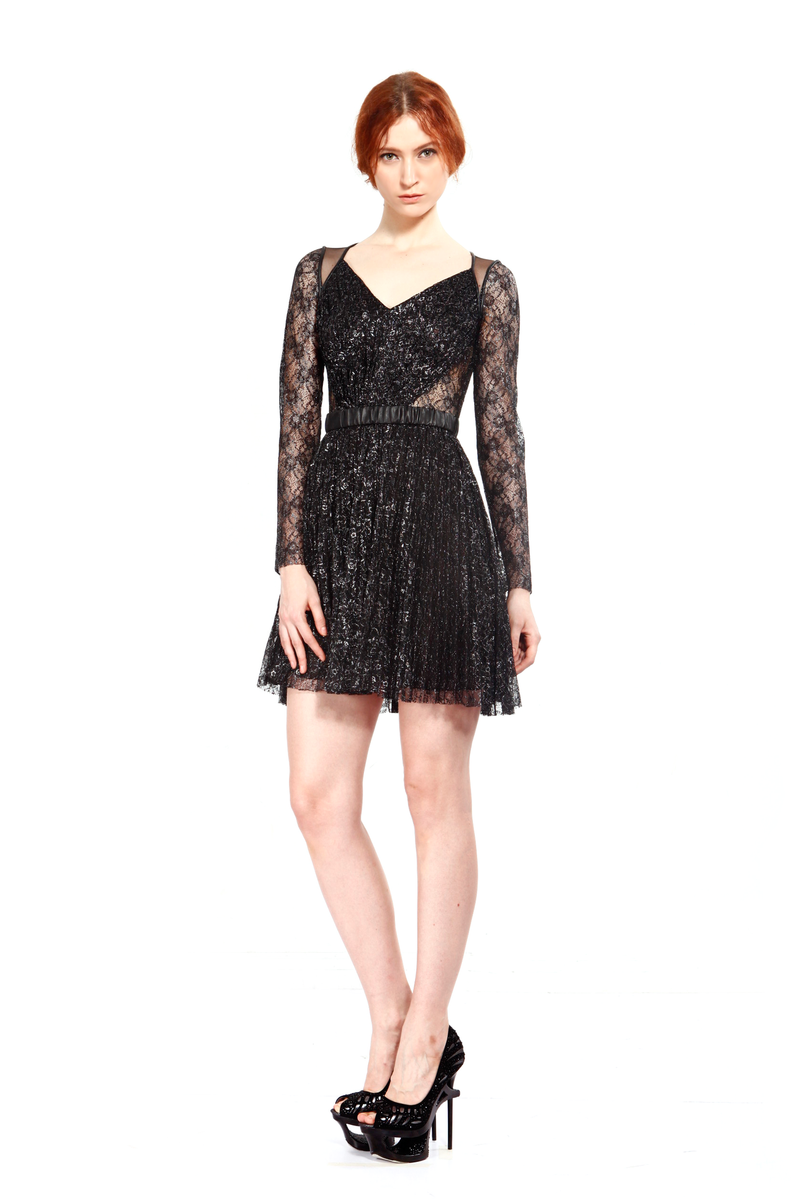 Nina Lux Faux Leather Pleated Lace Dress
