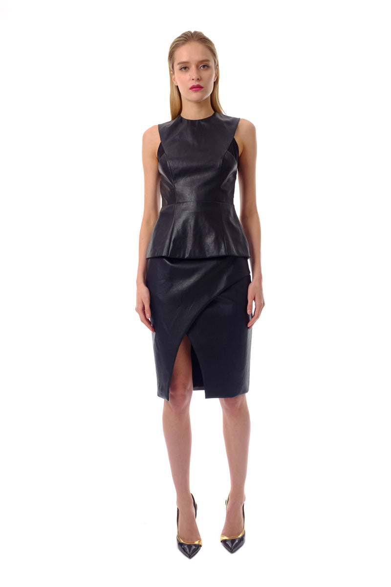 Lori Split Front Leather Skirt