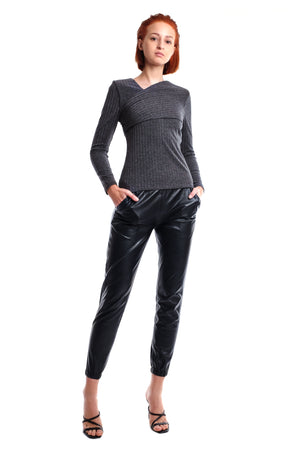 Kelley Track Style Leather Pants