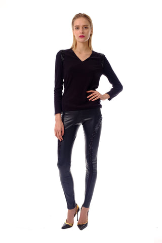 Fonda Emb Leather Pants