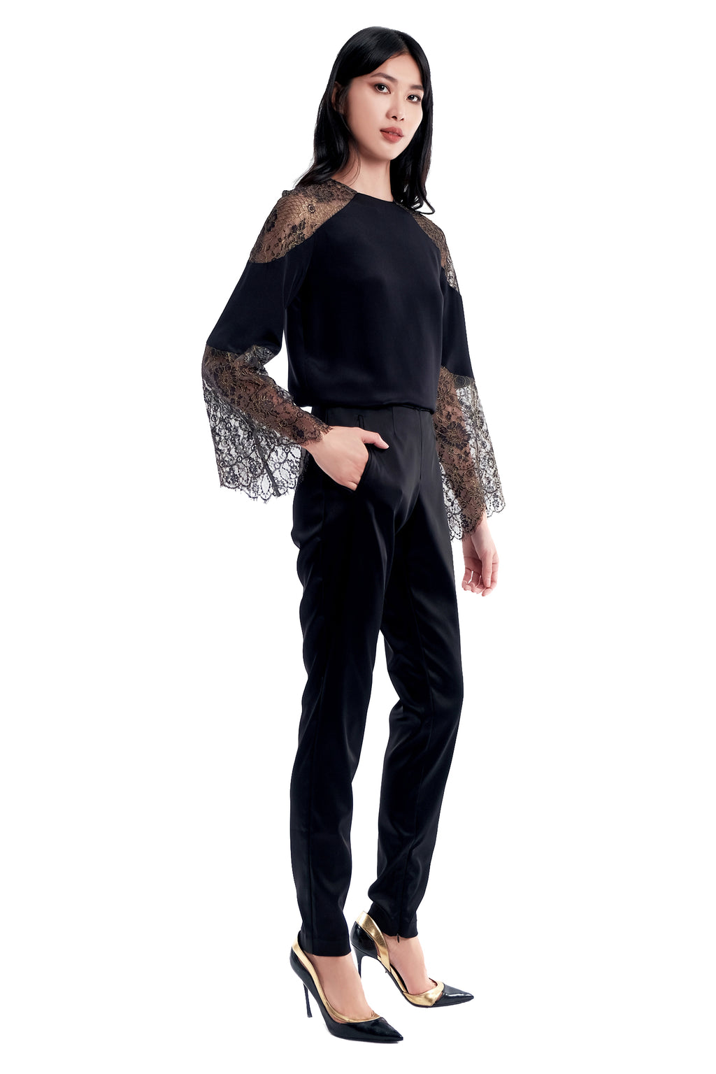 Amari Lace Silk Blouse