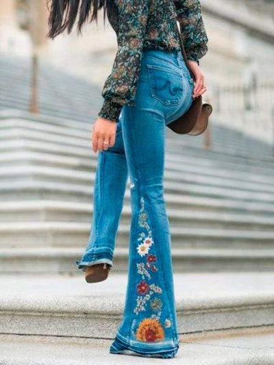 2019 Embroidered Jean Bell-bottoms