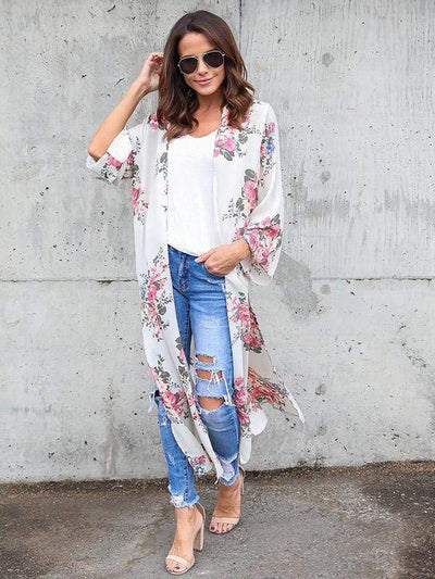 Floral Printed Outwear Long Sleeves Chiffon Women 2019