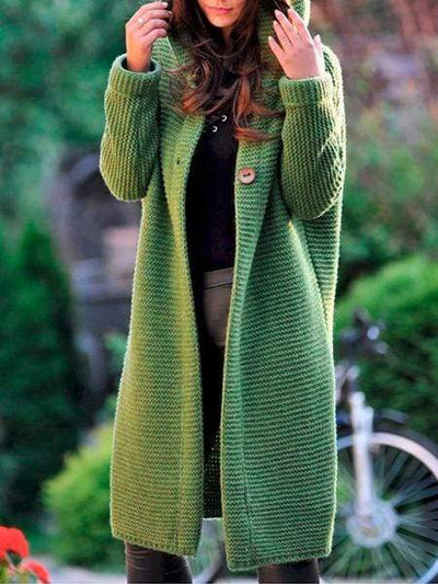 Casual Coats Solid Color Long-Sleeve Knitting for Women