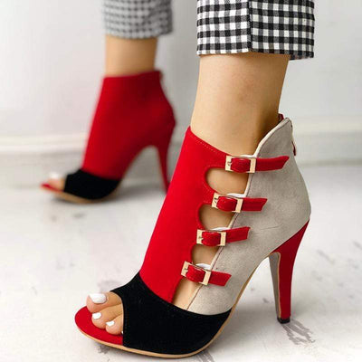 Colorblock Splicing Hollow Out Buckled Thin Heels for Women