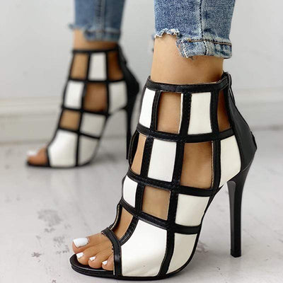 Contrast Color Peep Toe Caged High-heel Sandals for Women