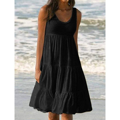 Solid Casual Sleeveless Beach Dress