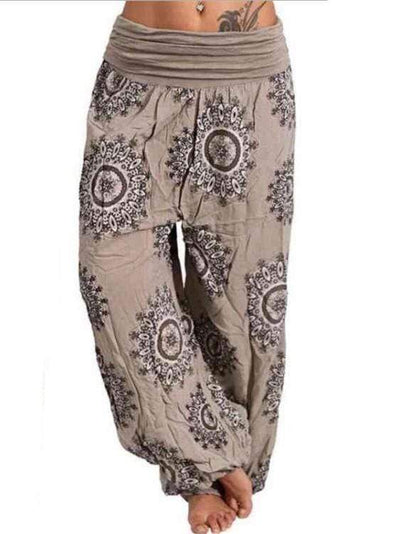Ethnic Print Loose Cotton Trousers pants