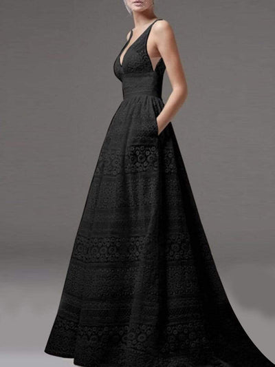 Deep V-Neck Hollow Out  Lace Evening Dress