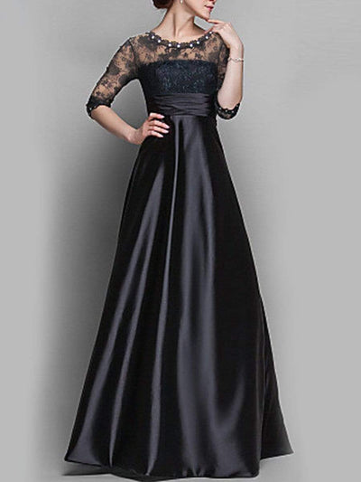 Round Neck Patchwork See-Through Evening Dress