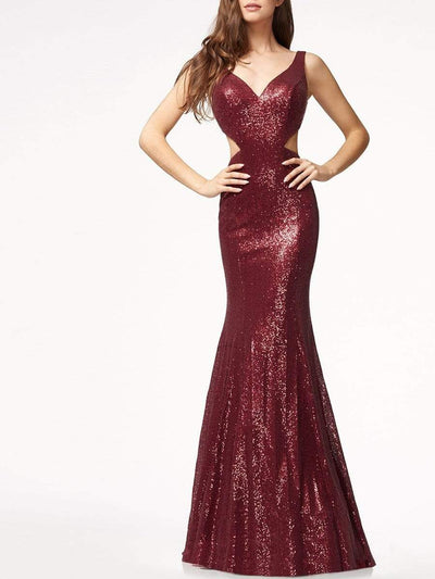 V-Neck Cutout Plain Mermaid Evening Dress