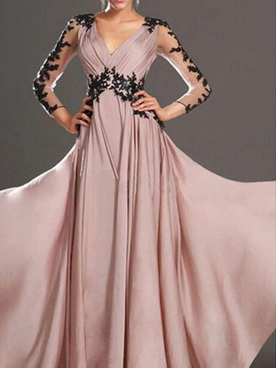 V-Neck  Patchwork  Evening Dresses