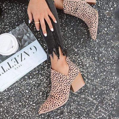 Fashion Stylish Pointed Toe Leopard Booties for Women