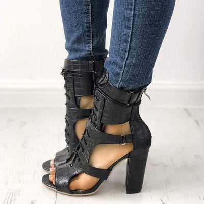 Lace-up Cutout Chunky Heel Sandals for Women