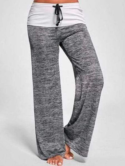 New Women Fashion Foldover Heather Wide Leg Casual Yoga Pants Bottom