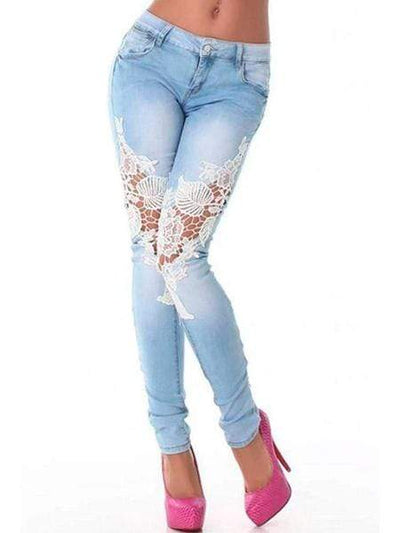 Patchwork Lace Pegged Jeans pant