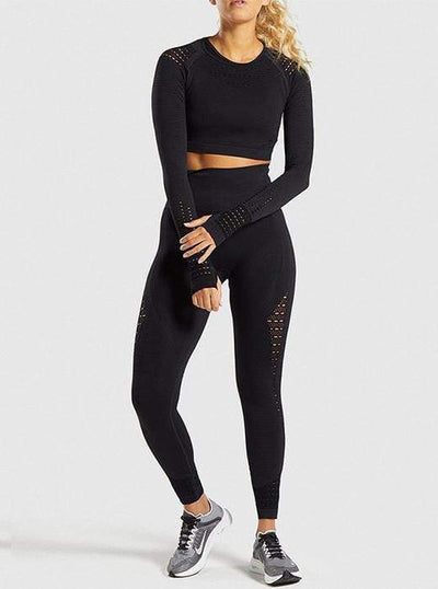 Seamless Long Sleeve Hollow-out Gym Sets
