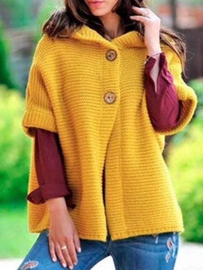 Women Fashion Loosely Coat Knitted Hooded Outerwear