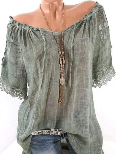 Women Open Shoulder Decorative Lace Short Sleeve Blouses
