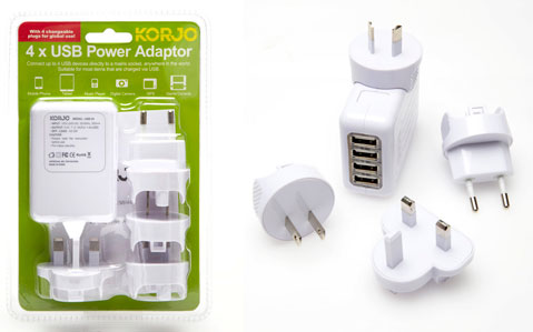 Korjo 4 x USB Hub Power Adaptor (with International Heads) – Multi Device Charger