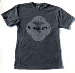 "BACK IN STOCK!!!  ""I RESIST!"" Christina D'Angelo's  ""allegory of resistance"" Grey on Grey Tee shirt"