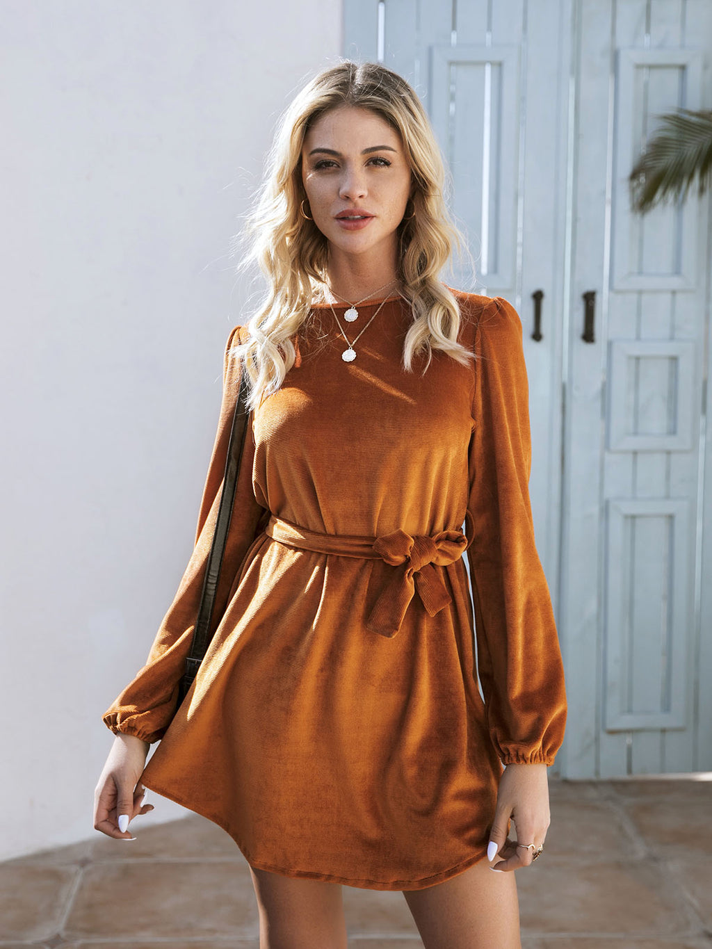 Orange Long Sleeve Solid Dresses