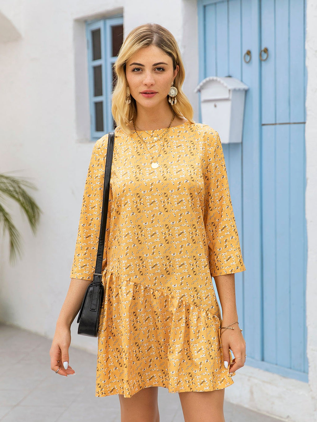 Yellow Bateau/boat Neck Casual Floral Dresses