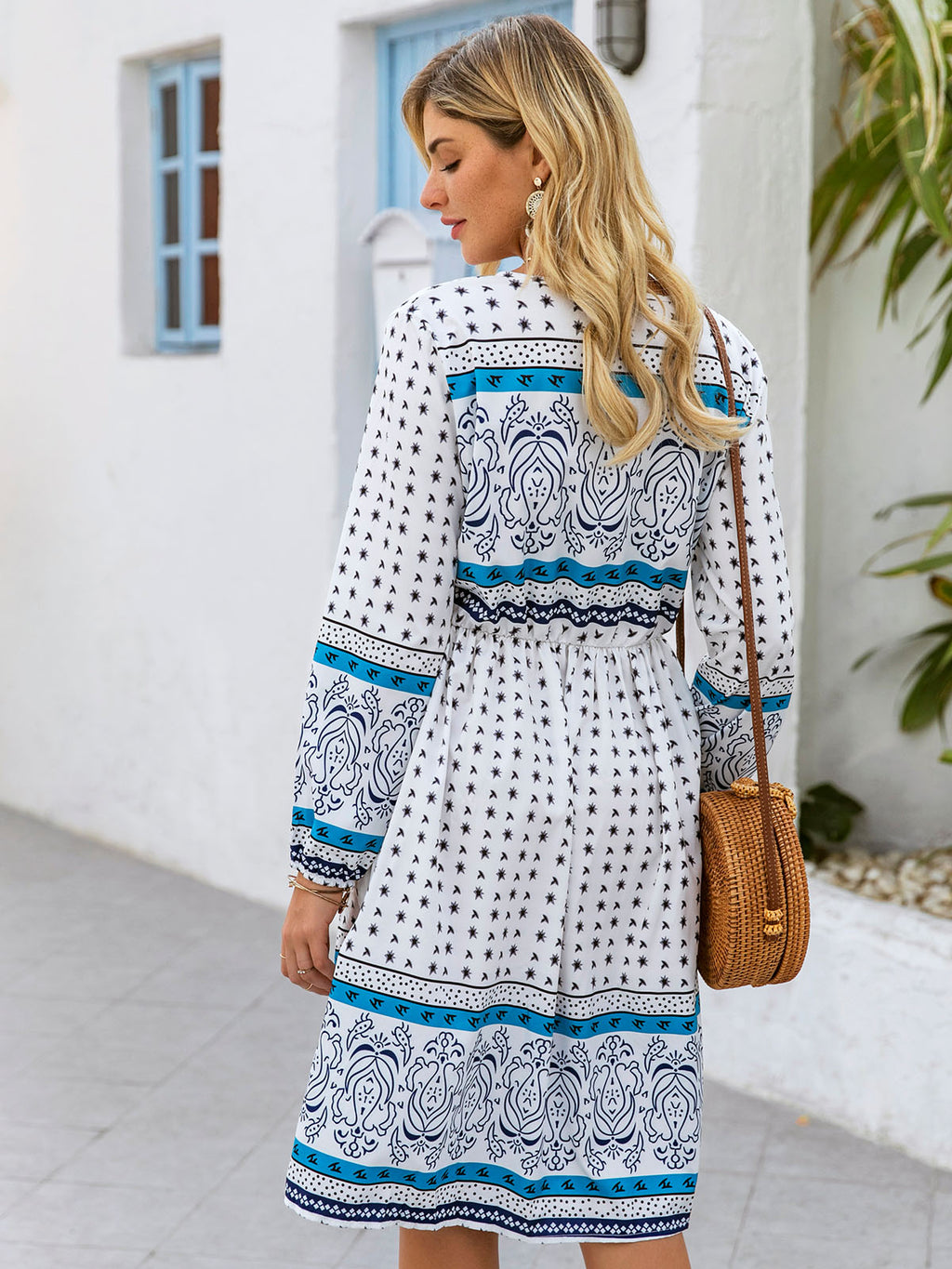 Lightblue Shift Printed Graphic Holiday Dresses