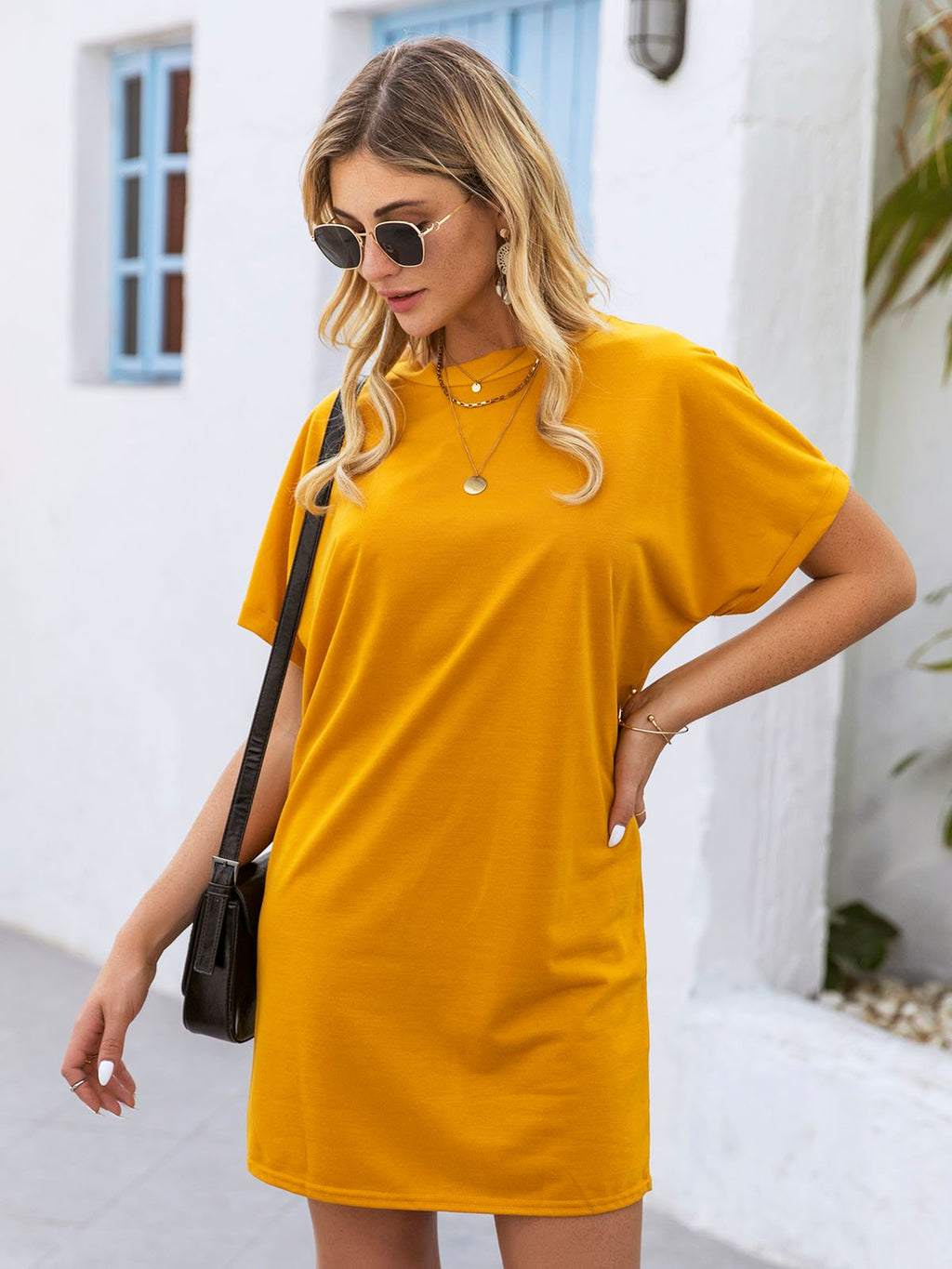 Yellow Solid Casual Dresses