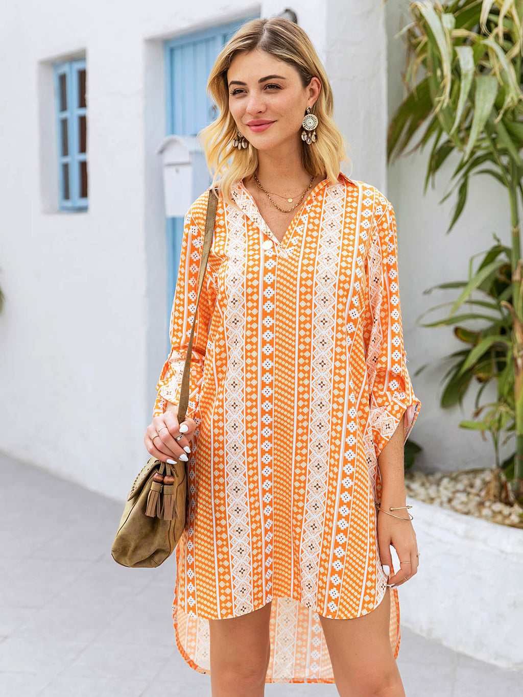 Yellow Shift Long Sleeve Printed Dresses