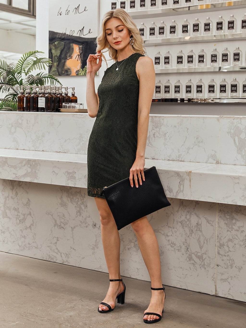 Black Crew Neck Cocoon Sleeveless Dresses