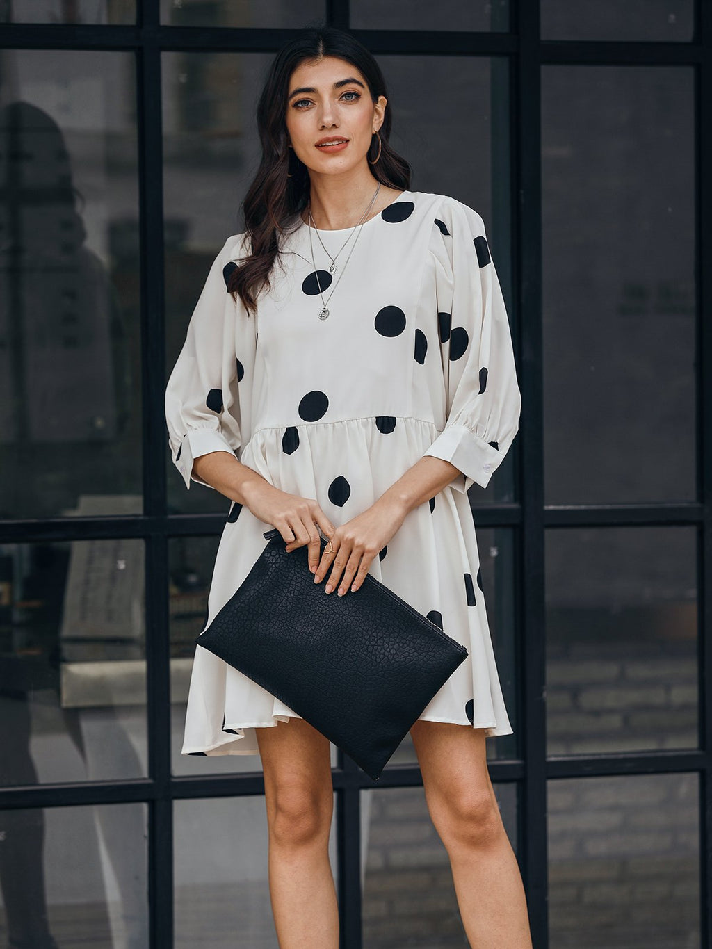 White Polka Dots 3/4 Sleeve A-Line Dresses