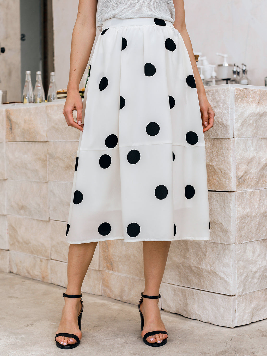 White Polka Dots Shift Boho Skirts