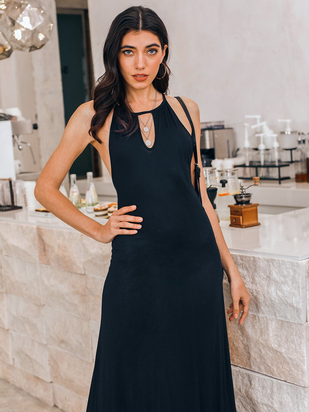 Black Swing Holiday V Neck Dresses
