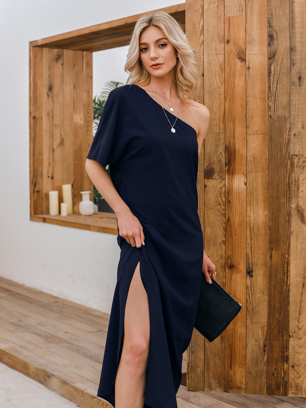 Black One Shoulder Solid Chiffon Cold Shoulder Dresses