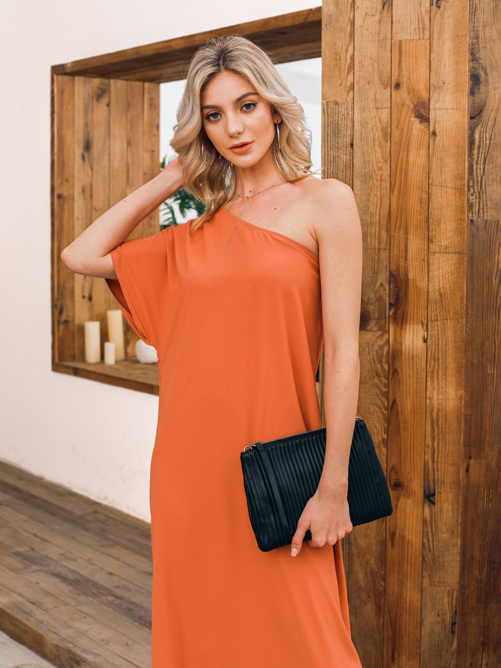 Orange Solid Sexy Dresses