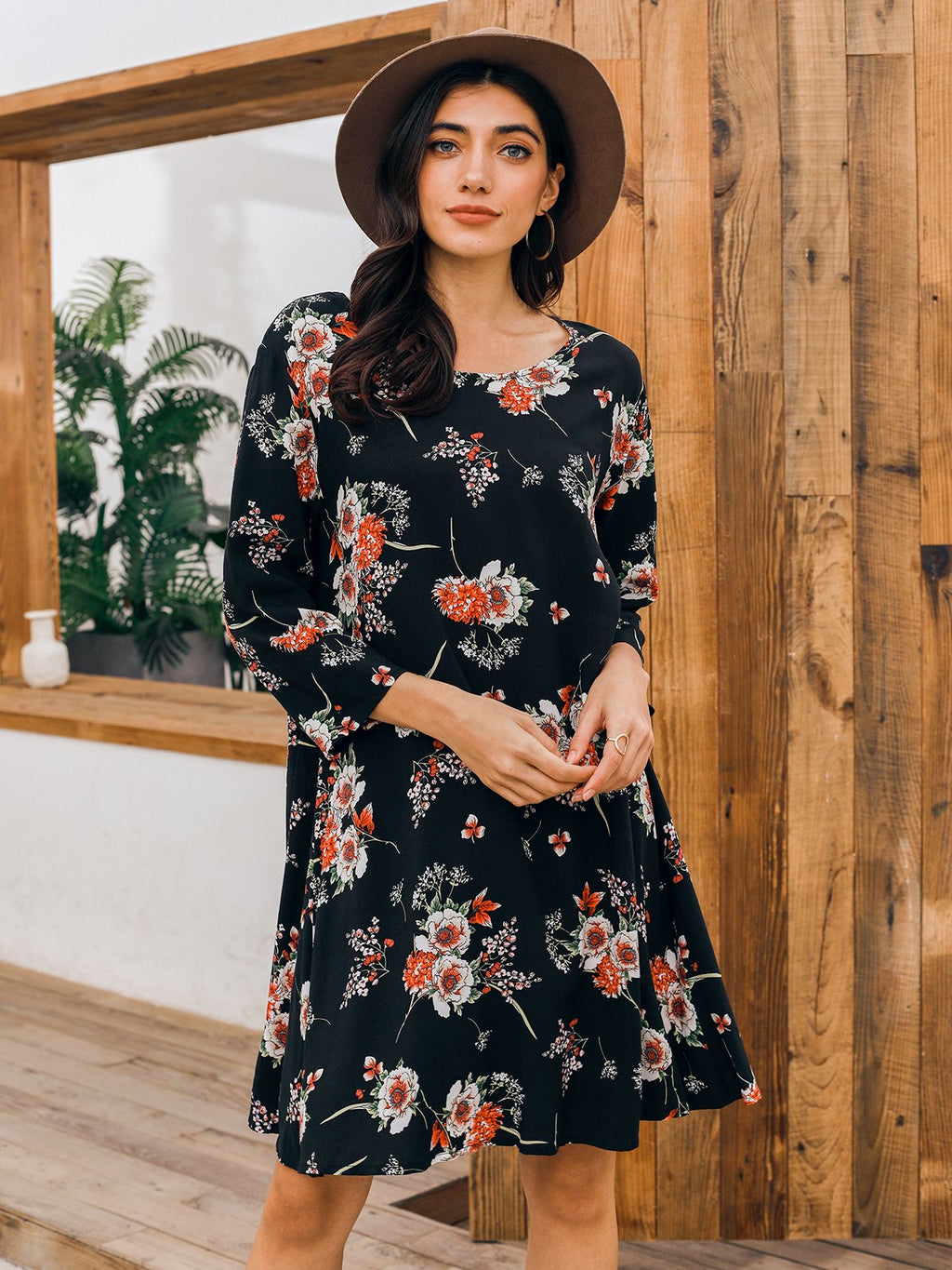 Chiffon Floral Long Sleeve V Neck Dresses