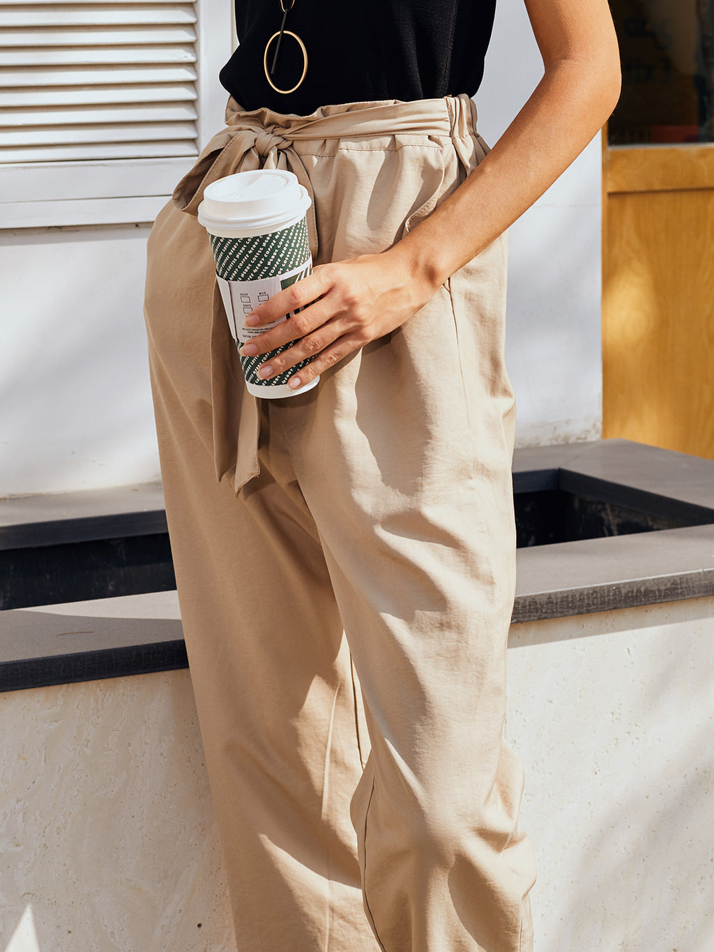 Khaki Plain Holiday Pants