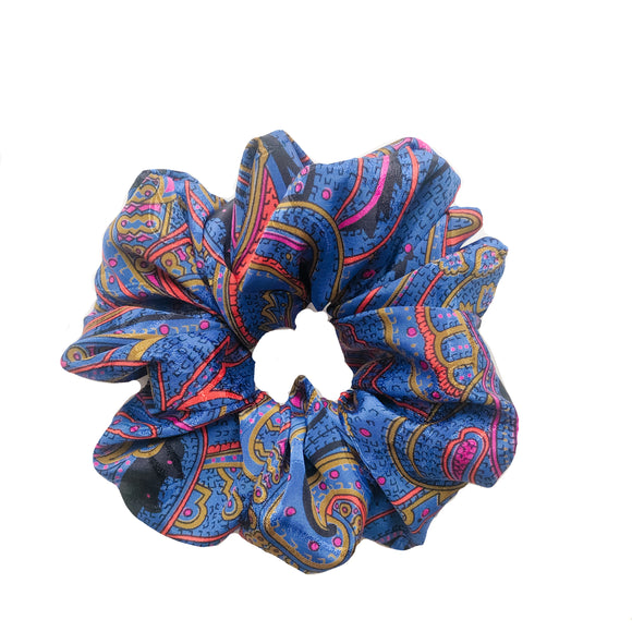 Blue Paisley Print Satin Sleep Scrunchie