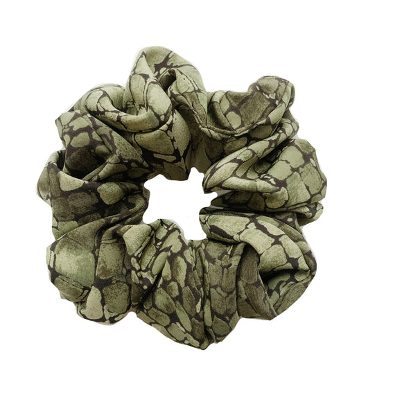 Army Green Snakeskin Satin Sleep Scrunchie