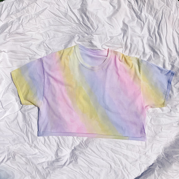 CROP Rainbow Water Colour T-Shirt