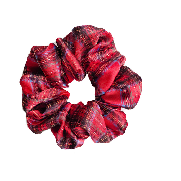 Red Tartan Satin Sleep Scrunchie