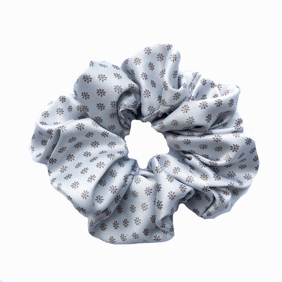 Baby Blue Floral Satin Sleep Scrunchie