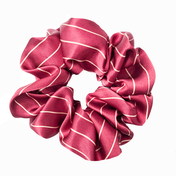 Cranberry Cream Pin Stripe Satin Sleep Scrunchie