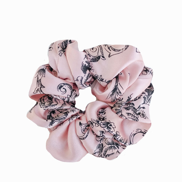 Dusty Pink Black Floral Satin Sleep Scrunchie