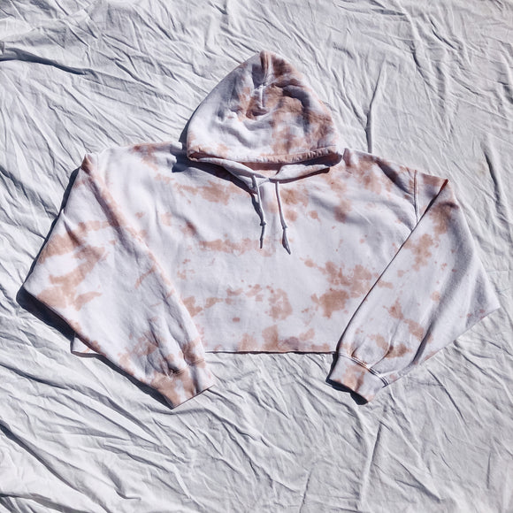 Tan Crop Tie Dye Oversized Hoody