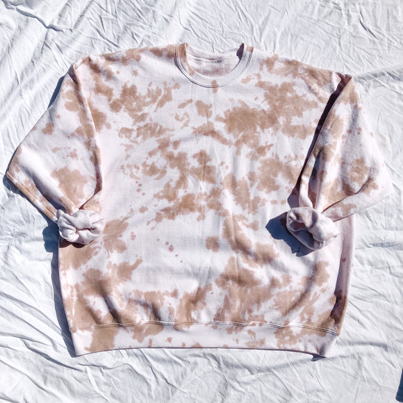 Toffee with Blush Oversized Tie Dye Sweatshirt