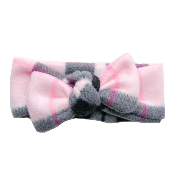 Pink&Black Fleece Baby Knot Headband